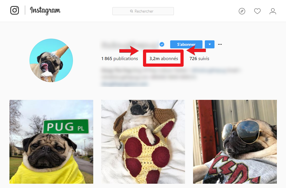 Acheter les followers d'Instagram photo d'échantillon