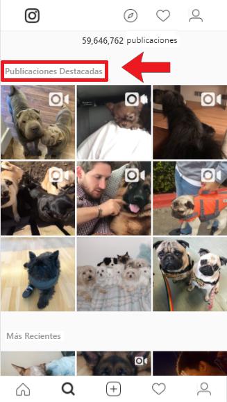 Ejemplo de las publicaciones de fotos más populares de Instagram